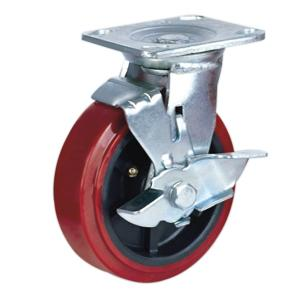 Factory Sale PU Caster Wheel With Side Brake