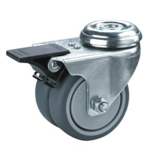 Factory Sale Twin wheels caster with bolt hole