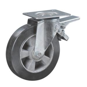 Aluminum Rim Rubber Caster With Brake