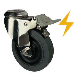 Stainless steel esd caster wheels bolt hole factory