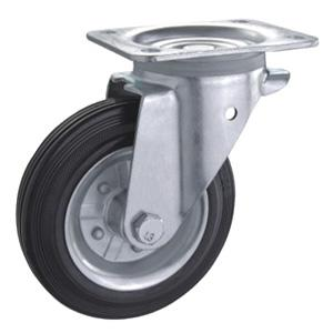Steel Rim Rubber Waste Bin Caster