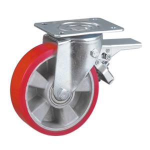 Aluminum Rim Polyurethane Caster With Brake